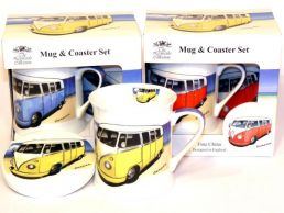 VW Camper Van Fine Bone China Mug & Coaster Set 2 Tone by Leonardo
