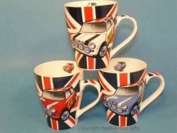 Classic Union Jack Mini Cooper Tulip Shaped China Mug by Leonardo