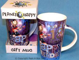 Planet Happy Male 18th Birthday Bone China Gift Mug by Leonardo