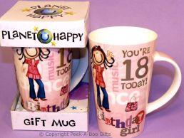 Planet Happy Female 18th Birthday Bone China Gift Mug by Leonardo