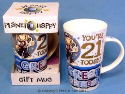 Planet Happy Male 21st Birthday Bone China Gift Mug by Leonardo