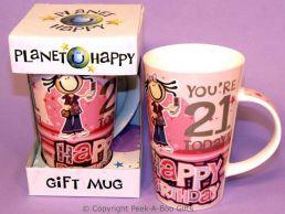Planet Happy Female 21st Birthday Bone China Gift Mug by Leonardo