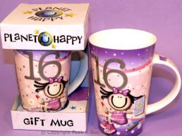 Planet Happy Female 16th Birthday Bone China Gift Mug by Leonardo