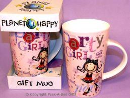 Planet Happy Female Party Girl China Gift Mug by Leonardo