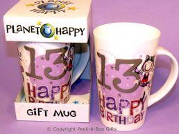 Planet Happy Female 13th Birthday Bone China Gift Mug by Leonardo