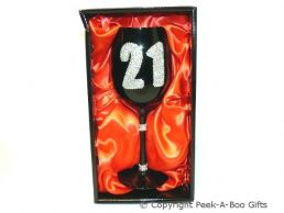 21st Birthday Hand Painted & Jewelled Black Large Wine Gift Glass