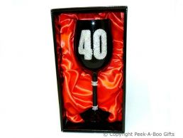 40th Birthday Hand Painted & Jewelled Black Large Wine Gift Glass