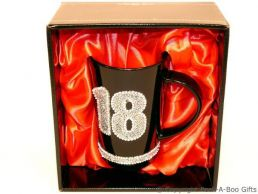 18th Birthday Hand Painted & Jewelled Black Latte Gift Mug