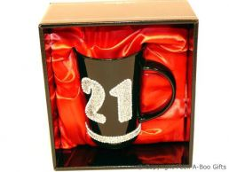 21st Birthday Hand Painted & Jewelled Black Latte Gift Mug