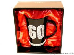60th Birthday Hand Painted & Jewelled Black Latte Gift Mug