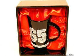 65th Birthday Hand Painted & Jewelled Black Latte Gift Mug
