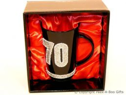 70th Birthday Hand Painted & Jewelled Black Latte Gift Mug