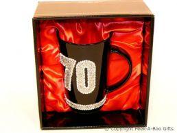 70th Birthday Hand Painted & Jewelled Black Latte Gift Mug
