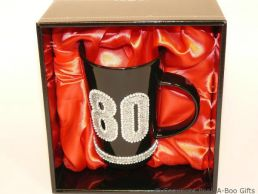 80th Birthday Hand Painted & Jewelled Black Latte Gift Mug