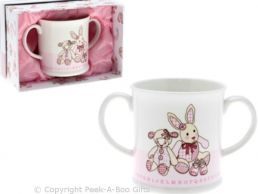 Cavania Little Feet Twin Handled Pink Baby China Mug by Leonardo