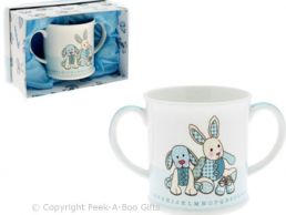 Cavania Little Feet Twin Handled Blue Baby China Mug by Leonardo