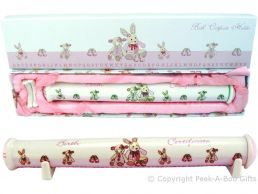 Cavania Little Feet Pink Fine China Birth Certificate Holder on Stands