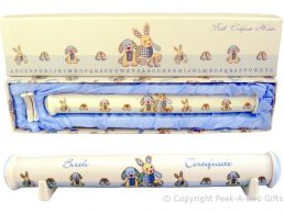 Cavania Little Feet Blue Fine China Birth Certificate Holder on Stands