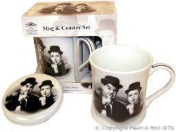Iconic Laurel & Hardy Fine China Mug & Coaster Set by Leonardo