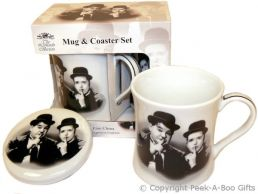 Iconic Laurel & Hardy Fine China Mug & Coaster Set by Leonardo