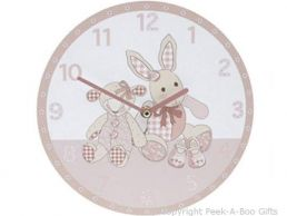 "Cavania Little Feet 10"" Wooden Round Nursery Wall Clock in Pink"