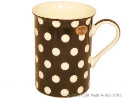 Leonardo Cascade Collection China Slim Mug Black with White Polka Dots