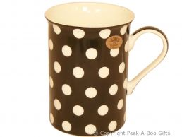 Leonardo Cascade Collection China Slim Mug Black with White Polka Dots