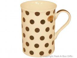 Leonardo Cascade Collection China Slim Mug White with Black Polka Dots