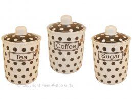 Leonardo Black & White Cascade Collection China Tea-Coffee-Sugar Jar 3pc Set