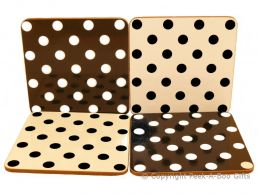 Leonardo Black & White Cascade Polka Dot Collection Set of 4 Coasters Corked Backed