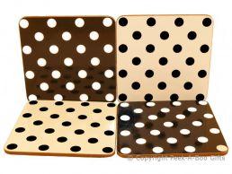 Leonardo Black & White Cascade Polka Dot Collection Set of 4 Coasters Corked Backed