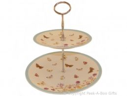 Leonardo Butterfly Meadow Collection 2 Tier Cake Stand Fine China & Metal