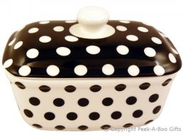 Leonardo  Black & White Cascade Collection China Butter Dish with Lid