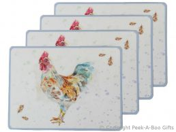 Leonardo Country Cockerel Set of 4 Placemats Corked Backed by Jennifer Rose