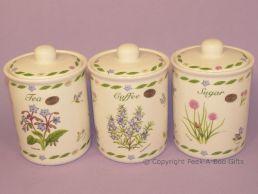 Leonardo Herb Garden Collection Fine China Tea-Coffee-Sugar Jar Set