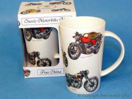 Classic British Motorbikes Bone China Tall Boxed Latte Mug by Leonardo