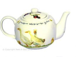 Leonardo Farmyard Collection Traditional China Teapot Duck & Chicken