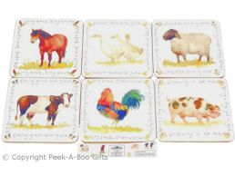 Leonardo Farmyard Collection Set of 6 Cork Backed Coasters