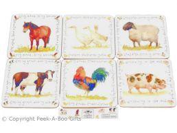 Leonardo Farmyard Collection Set of 6 Cork Backed Coasters