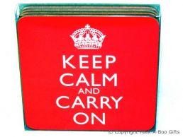 Keep Calm & Carry On Set of 4 Corked Backed Coasters by Leonardo