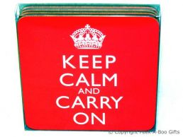 Keep Calm & Carry On Set of 4 Corked Backed Coasters by Leonardo