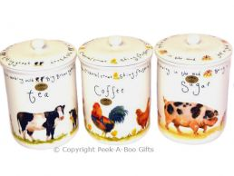 Leonardo Farmyard Collection China Tea-Coffee-Sugar Jar 3pc Set
