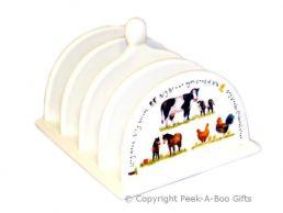 Leonardo Farmyard Collection China Toast Rack Cow-Horse-Chicken
