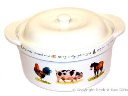 Leonardo Farmyard Collection China Casserole Dish with Lid
