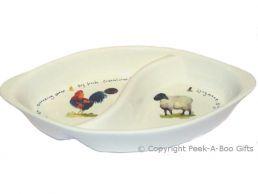 Leonardo Farmyard Collection China Divided Dish Chicken & Sheep