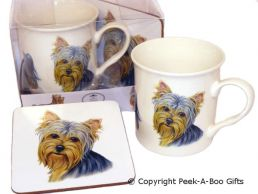Yorkie-Yorkshire Terrier Leonardo China Mug & Cork Backed Coaster Set