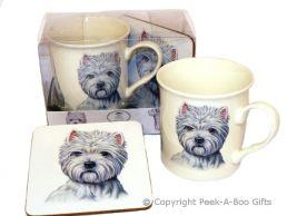 Westie-West Highland Terrier China Mug & Coaster Set by Leonardo