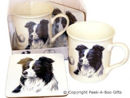 Border Collie China Mug & Cork Backed Coaster Set by Leonardo