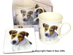 Jack Russell China Mug & Cork Backed Coaster Set by Leonardo