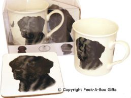 Black Labrador Retriever China Mug & Cork Backed Coaster by Leonardo